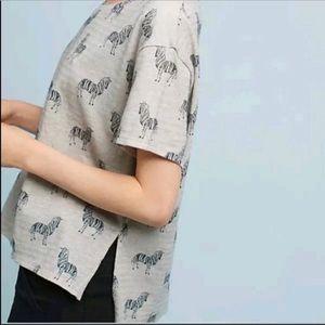 Postmark | Grey Linen Zebra Print Top